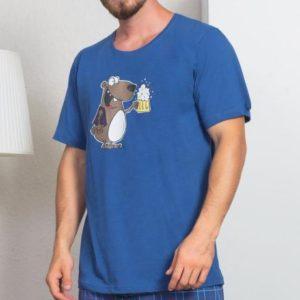 Pánské pyžamo šortky Vienetta Secret Méďa s pivem
