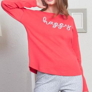 Dámské pyžamo dlouhé Vienetta Secret Happy